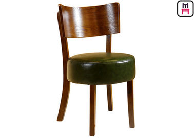 Round Leather Padded Armless Dining Chair, Kursi Ruang Makan Kayu Gelap