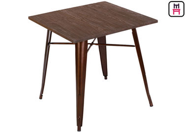 Quare Counter Tinggi Meja Makan, Solid Wood Top Logam Bast Replica Tolix Dining Table
