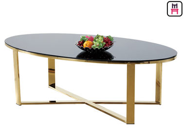 Cina Tempered Glass / Oval Rectangular Marble Coffee Table X Bentuk Dasar Stainless Steel pabrik