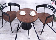 Bar Cafe Commercial Metal Chair With Wood Seat , Industrial Style Dining Chairs