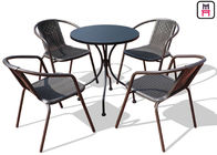 Cina Square / Round Outdoor Restaurant Tabel Carbon Steel Weatherproof Patio Furniture pabrik