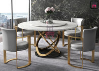 Electroplating Brass High Back Dining Room Chairs With Stainless Steel Leg