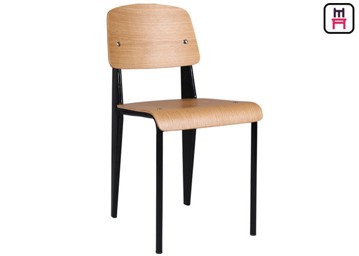 Nordic Minimalism Metal Restaurant Chairs Leather / Wood Seats Library Style