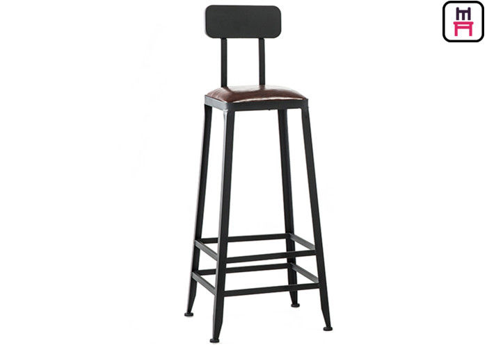 Indoor Industrial High Back Bar Stools Dengan Bingkai Kayu Solid / Removable Backrest pemasok