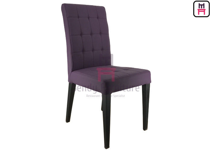 Purple Upholstered Leather Metal Kitchen Chairs With Square Pattern Stitching