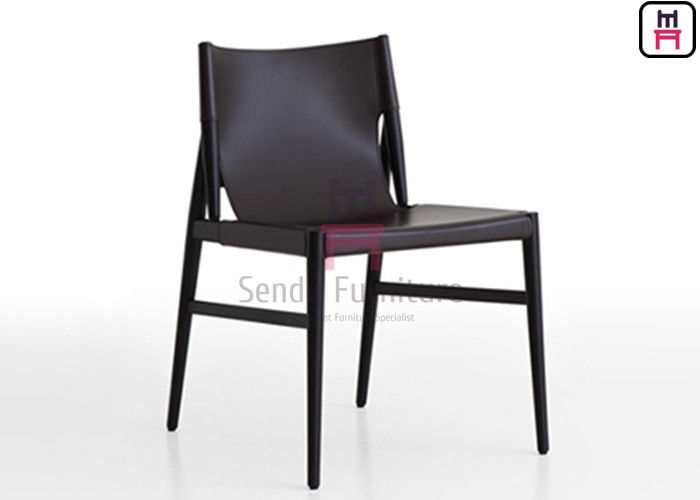 Dark Gray Color Wood Restaurant Chairs Saddle Leather Indoor Commercial Furniture