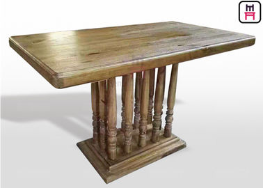 Vintage Rectangle Commercial Restaurant Tables Dengan Rustic Kolom Kayu Solid Roman